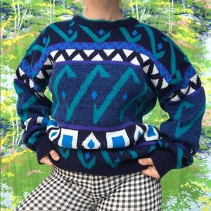 vtg 80s 90s geometric pattern knit grandpa sweater